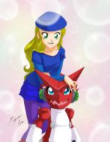 Comission - Haley + Shoutmon by Shinta-Girl