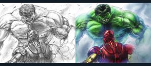 Hulk Vs. Ironman Collab by CdubbArt