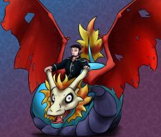 Osric on an Airdramon by SunScales