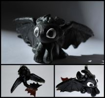 Polymer clay Toothless by Fezti