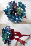 Blue kusudama flower bouquet by Ilyere