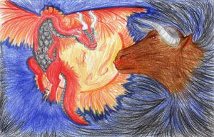 Dragon and Bull by brittanyandalvin