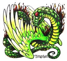 Winged fire serpent coloured by Dragarta
