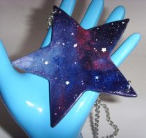 Galaxy Nebula Statement Star Shaped Necklace by tyney123