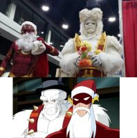 santa flash and freaky the snowman by metal-otaku