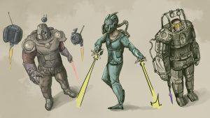 Sci-fi character concepts in color by Ranivius