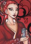 ACEO 134: 'Drink Me'- Red Tea by Forunth