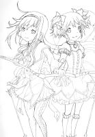 Homura x Madoka Outline by The89thAlice