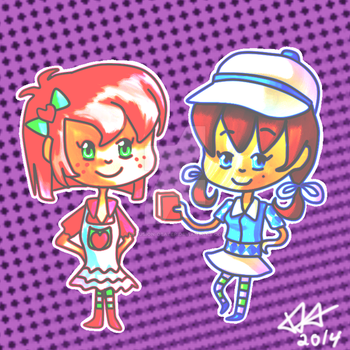 Strawberry and Blueberry Chibis by Delusion-Dealer