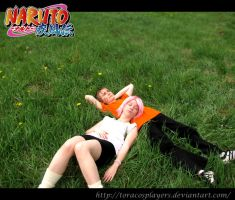 NaruSaku in grass II by ToraCosplayers