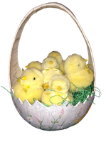Easter basket egg with chicks png by Irisustockimages