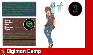 Digimon Camp: Jack and Snoozmon by TheRaven-King