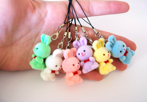 Flocked Bunny Charms by SeaOfCreations