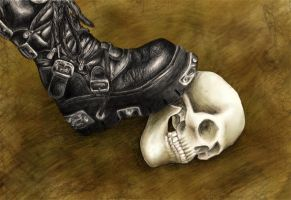Stepping on Skulls -colour- by thedisturbedfish
