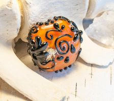 Glass Halloween Focal Bead by copperrein