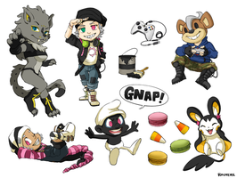 Stickers: Ikki, Gaki, Gnapy, Tacha, Oz, and Stella by student-yuuto
