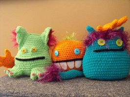 Three Lil Monsters by Spritzykins