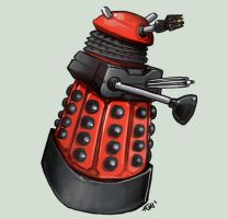 Comish - FC - Red Dalek by oneoftwo