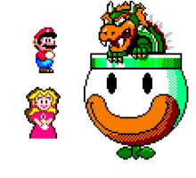 Pixel Mario, Peach and Bowser by Jack-0f-Diam0ndz