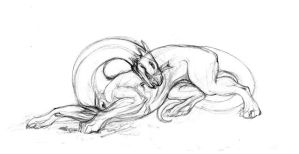 Hopeless struggle - sketch by hontor
