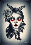 devil girl tattoo flash by MWeiss-Art