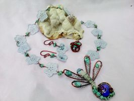 Dragonfly and flower necklace by Mirtus63