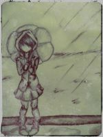 Standing in the pouring rain by KittyNinja2009