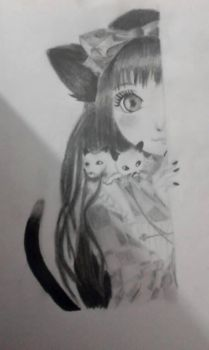 Kitty Drawing X by Loleycx