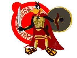Daffy Duck: Spartan Warrior by LadyHexaKnight