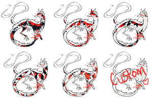 Koi Themed Dragon Foxes :Closed: by CharcoalMoose