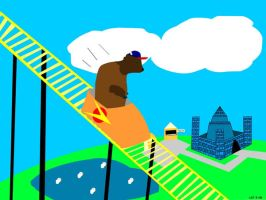 Buffalo on a Roller coaster by Vulkingzor