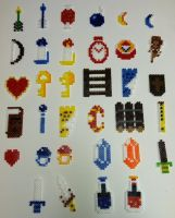 Perler Bead: Legend of Zelda Items by thewiredslain