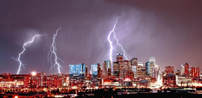 Denver Skyline Lightning by designKase