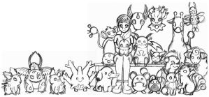 Fallon and her Pokemon by SuirenShinju