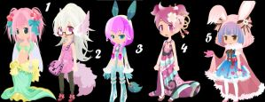 Happy Colors Girls Trade to Adopt LAST SET CLOSED by AdoptableSoulxHeart