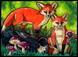 Two foxes, fox cubs ACEO ATC by candcfantasyart