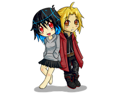 Art Trade: Chibi x Ed Elric by Bumbleon