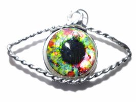 Green and red eye tin pendant by glo0bule