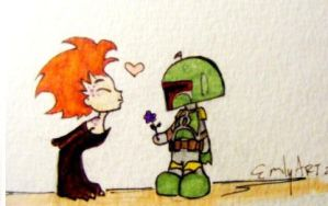 Rystall and Boba Fett Chibis by Reenin
