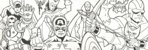 4 card Avengers set line work by chicagogeekdad