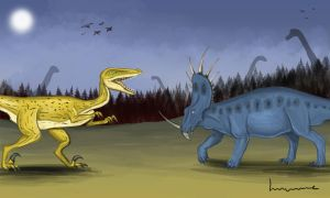 Styracosaurus Sees Danger by Louisetheanimator