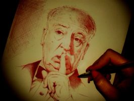 Red pen: Alfred Hitchcock by IamLesFleurs