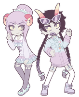 Pastel Goth Damara Megido and Meenah Peixes by nekozneko