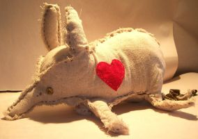 Aardvark Heart Plushie by CreaturesChild