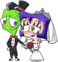 Zim and Gaz's Wedded Bliss by nintendomaximus
