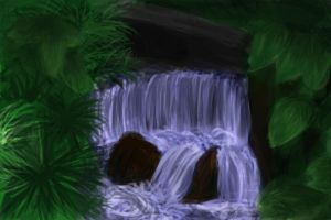 waterfall painting by pehlx94