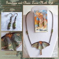 Gemstone and Chain Luna Moth Set by Angelic-Artisan