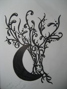 Moon tree tattoo design by IsabellaInk