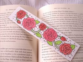 Red rose bookmark by PeachPodHandmade