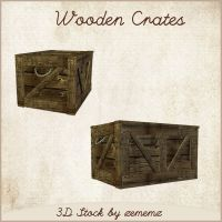 3D Wooden Crates by zememz